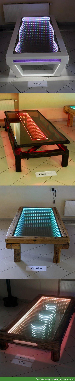 Une table, un miroir et .... des rubans led. C'est magique !!!