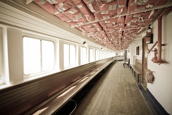 Inside the ferry going over to the Toronto Islands.