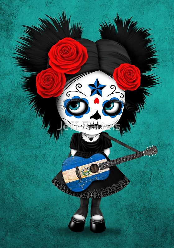 Sugar Skull Girl Playing El Salvador Flag Guitar | Jeff Bartels
