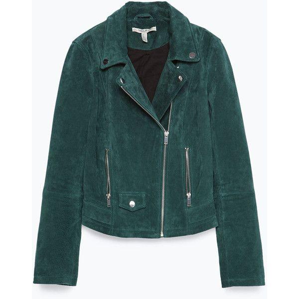 Zara Suede Biker Jacket ($149) ❤ liked on Polyvore featuring outerwear, jackets, coats & jackets, zara, emerald, suede leather jacket, suede motorcycle jacket, green moto jacket, zara jacket and lined jacket
