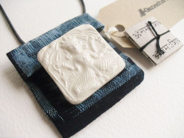 Handmade Shiva amulet pendant, talisman pouch, unique cream clay Shiva relief & sacred mantras in handmade indigo pouch, boho unisex pendant by GaneshasRat on Etsy