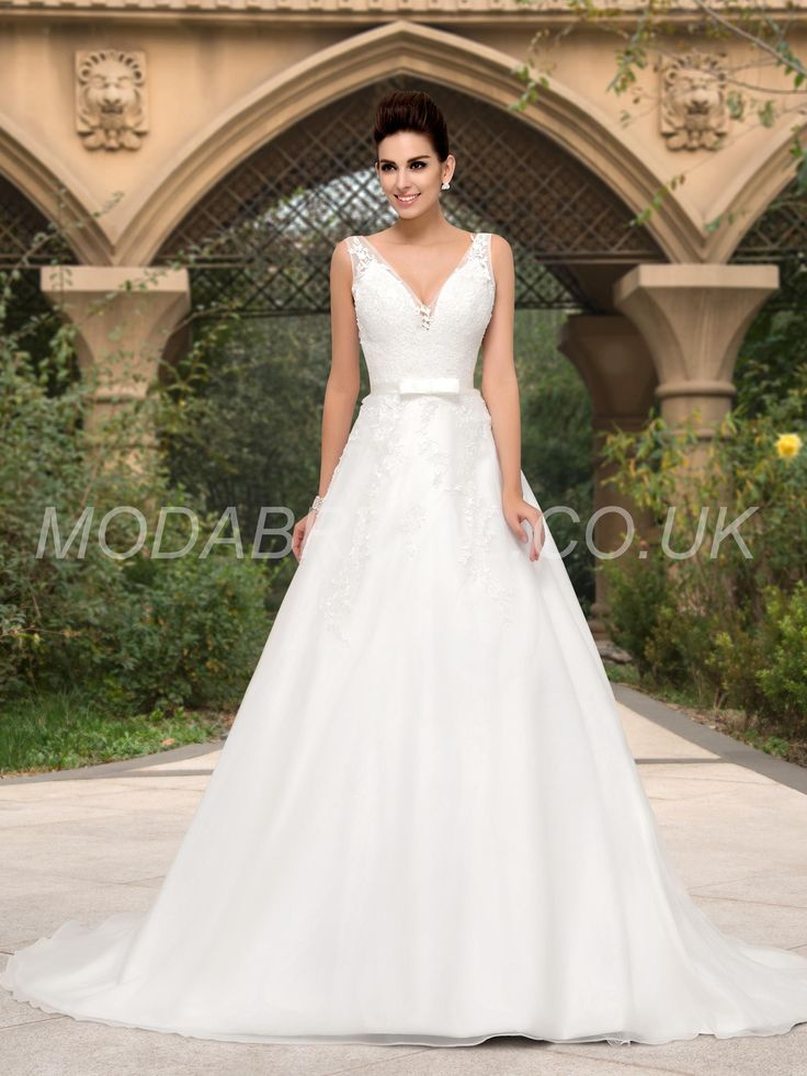 A Line Deep V Neck Appliques Court Train Wedding Dress