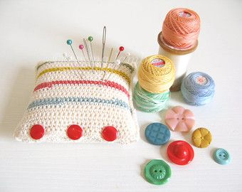 Hettie : cream pincushion with 1940s retro inspired stripes & ruby red buttons, hand crochet in cotton - ready to ship