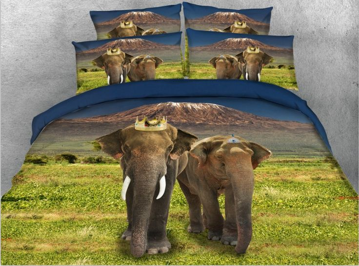 3D Elephant Comforter set Animal print Bedding quilt duvet cover bed sheet linen bedspread Super King size queen twin 4PCS 5PCS