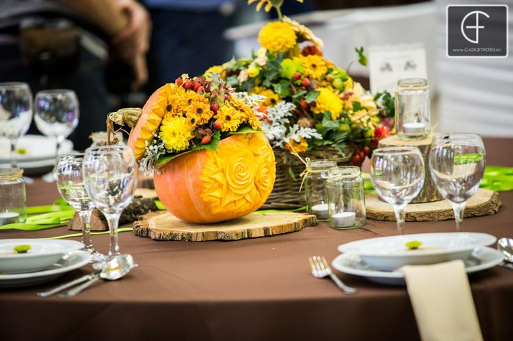 Wedding centerpieces Autumn theme- carving pumpkin with flowers--- Enchantée