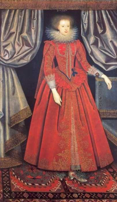 XVII wiek, hrabina Suffolk, Catherine Knevet - ma na sobie suknię podobnądo tej znalezionej na snie morza, początek XVII wieku
