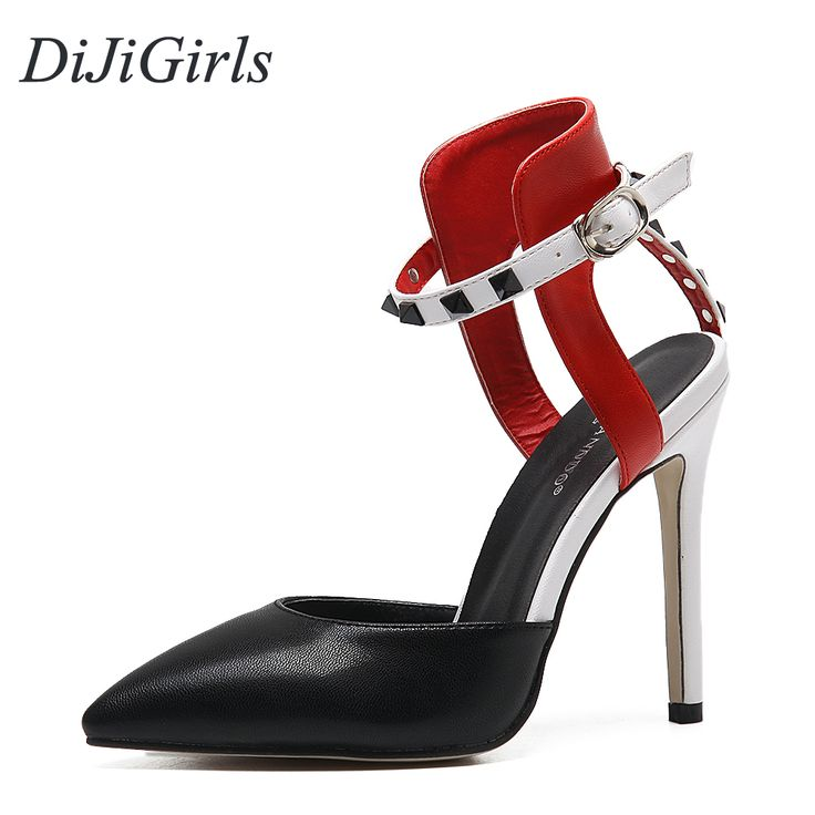 DiJiGirls New Sexy women's high heels Pointed Toe sandals ladies celebrity  Party Rivets Buckle Strap mixed