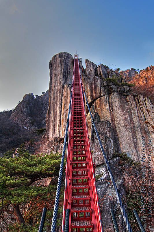 Vertical Stair Bridge at Daedunsan Mountain, Korea - I would never ever use this…