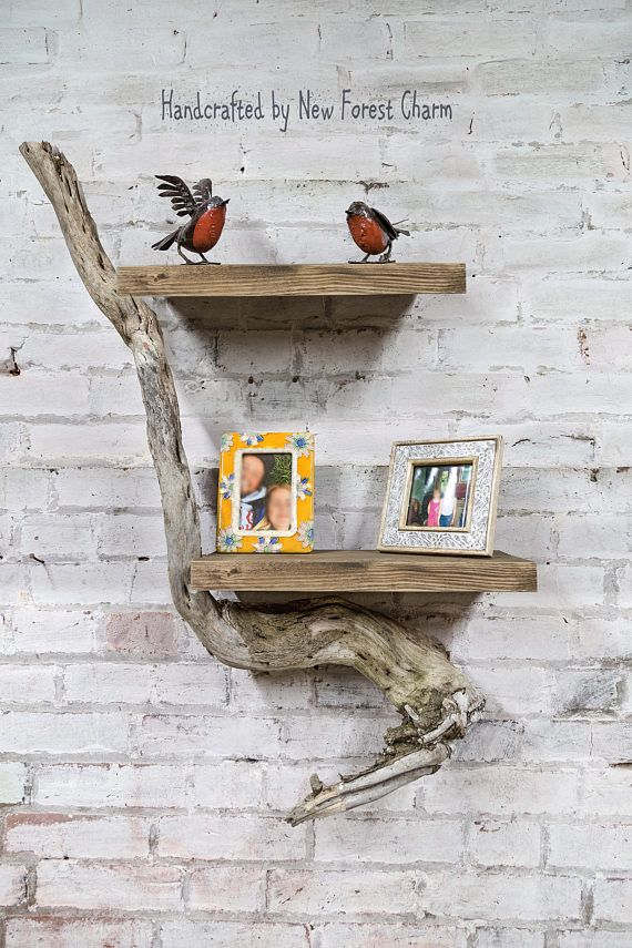 Wall Art Reclaimed Rustic Wood Shelf Natural Branch Display Unique Home Decor Wall Display Tree Branch Art Shelves Handmade Wall Art Wood Shelves