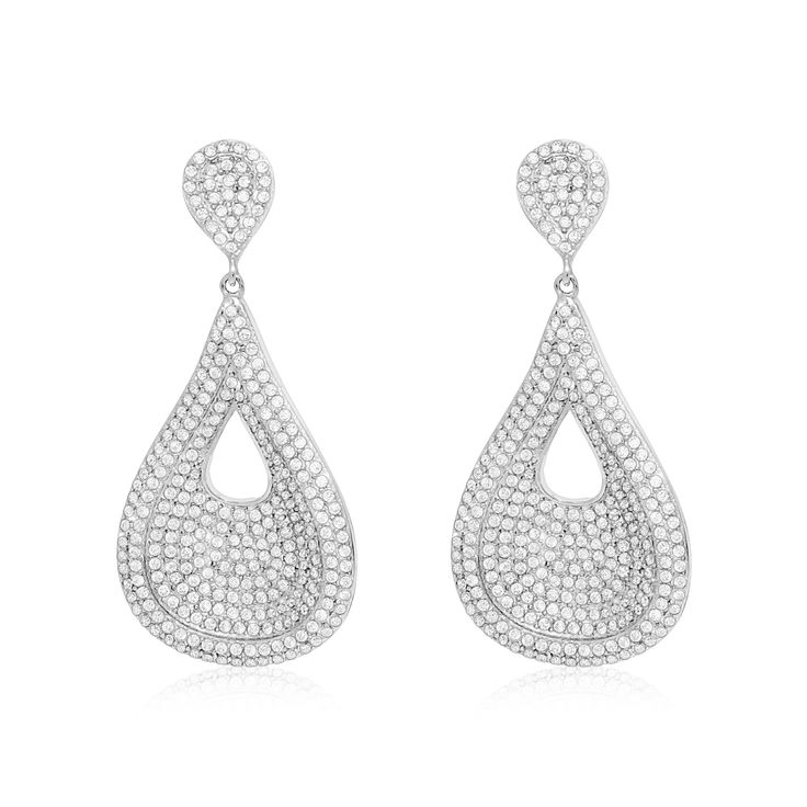 #earrings Sterling Silver CZ Pear Shape Hanging Earrings Total Weight: 15.1 grams Dimensions: 50x23 millimeters Push Back SKU: 84210135 Sterling silver CZ pear shape hanging earrings will look nice on you.
