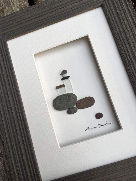 6 by 8 sea glass and pebble art by sharon nowlan by PebbleArt
