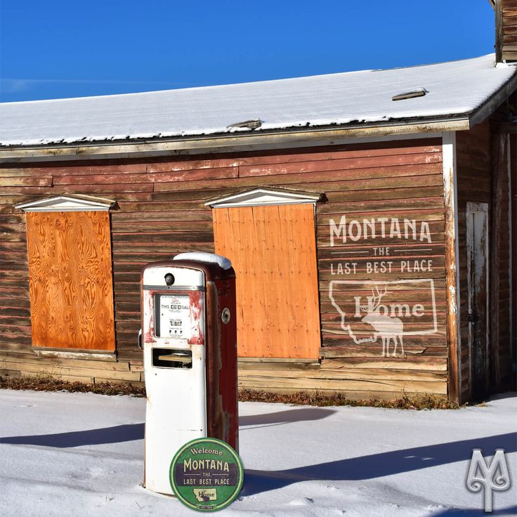 A 'Montana The Last Best Place' wall sign by Montana Treasures looks right at home at this rustic gas station in Virginia City, Montana. Shop now for your own piece of Montana!