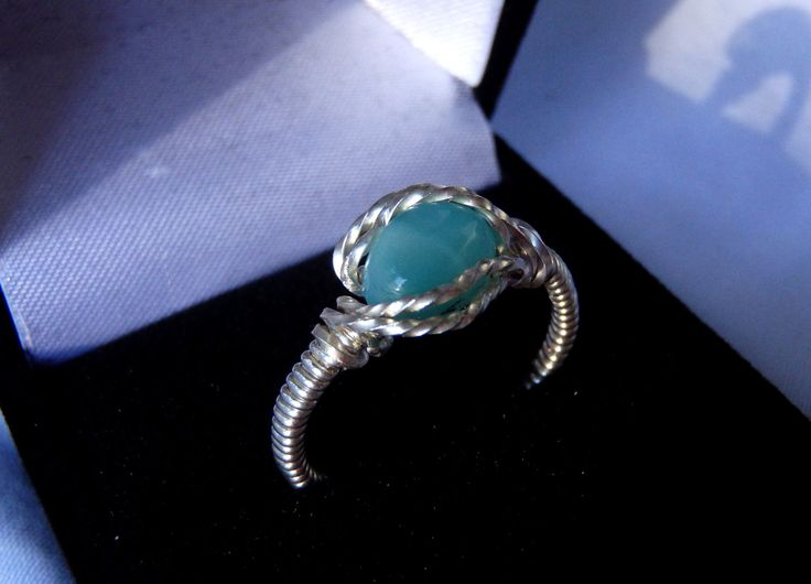 LARIMAR Sterling Silver Ring Size 7.5, Handmade Wire Wrapped Ring, Handmade Jewelry, Larimar Jewelry, Made with LOVE by BeauBijouxArt on Etsy