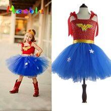 Últimas chicas wonder-woman tutu vestido de halloween traje de la navidad de la muchacha super hero dt-1621 tutu dress niñas apoyo de la foto(China (Mainland))