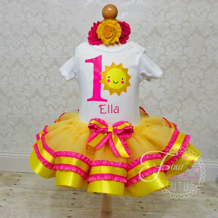Sunshine First Birthday Outfit, Girls First Birthday, You Are My Sunshine Shirt, Yellow Tutu Outfit, Sunshine Dress, Custom Colors Available by FourSweetHeartsTutus on Etsy https://www.etsy.com/listing/199092401/sunshine-first-birthday-outfit-girls