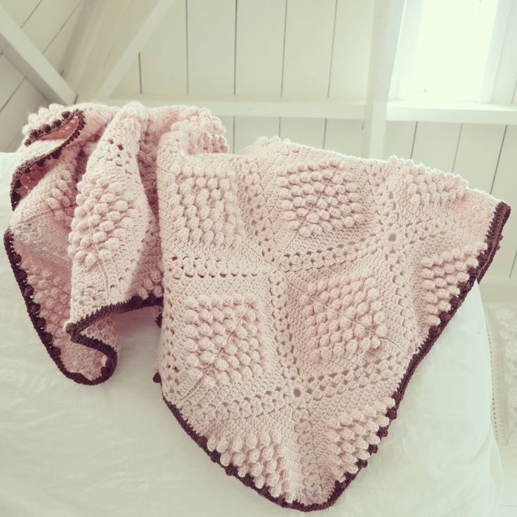 Byhaafner Crochet Popcorn Bobble Stitch Throw Blanket