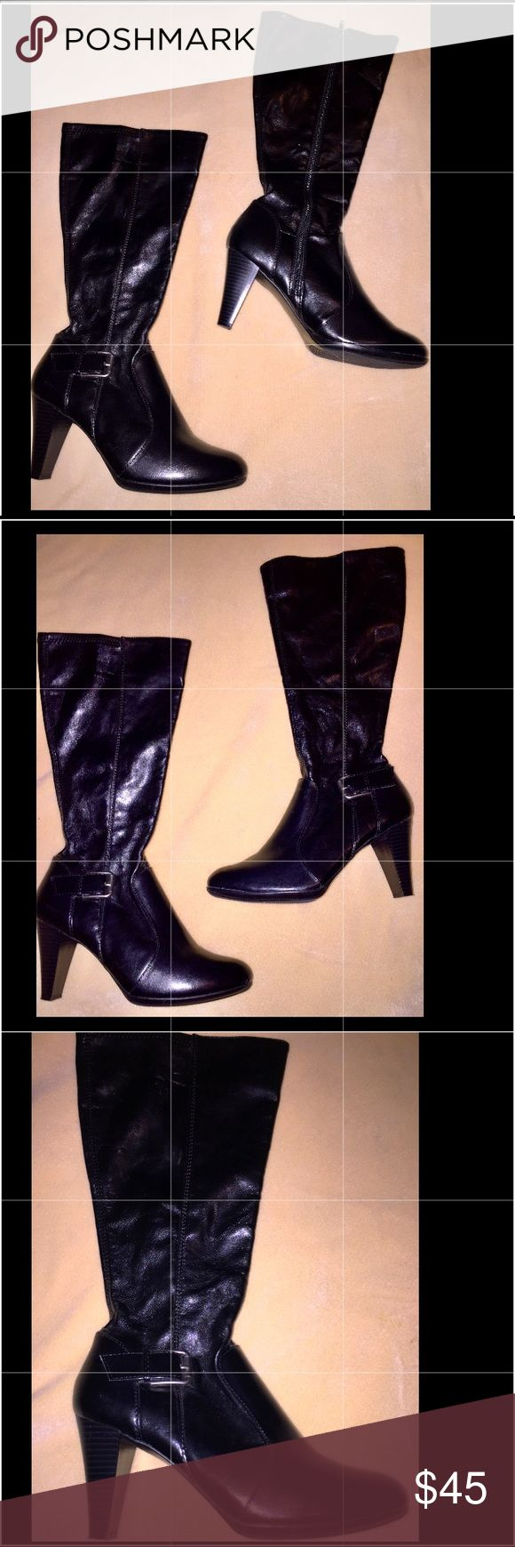 """❤️BEAUTIFUL Black Boots Size 9 by Madeline Stuart """"Spencer""""  Boots With Silver Buckle Detail Madeline Stuart Shoes Heeled Boots"""