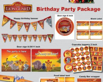 INSTANT DL- Lion Guard birthday party package kit Digital JPEG file disney junior (non personaized)