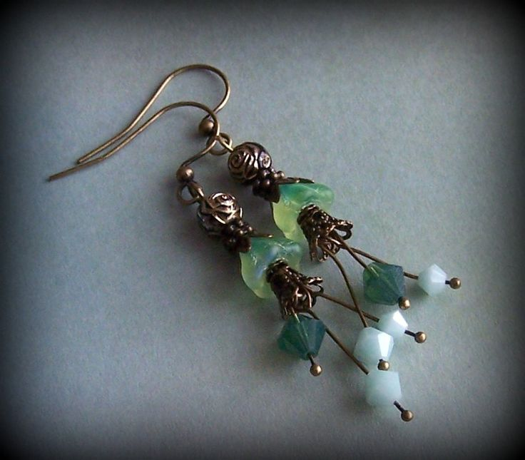 Gold and Green Bell Shaped Flower Earrings by ShelbyAnnDesigns on Etsy