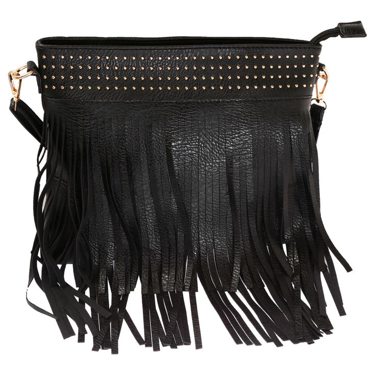 Schmick Black PU #Leather Cross #Body Fringe #Bag For #Women