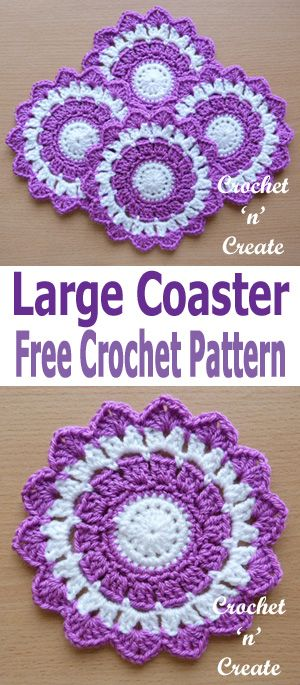My crochet large coaster uk format design will add colour to your table, it can be made quickly and easily, I have used yarn but if you use the same weight and hook size cotton would be ok too.