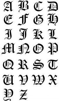 tatouage lettre alphabet gothique                                                                                                                                                                                 Plus