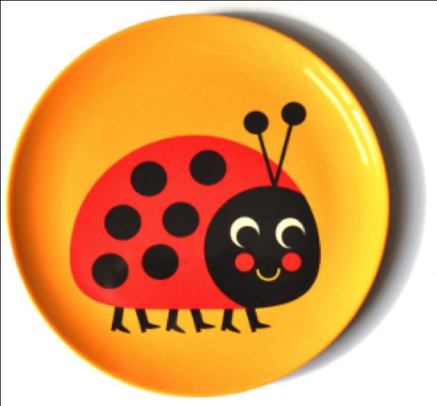 melamine plate #ladybug by #Ingela P #Arrhenius from www.kidsdinge.com https://www.facebook.com/pages/kidsdingecom-Origineel-speelgoed-hebbedingen-voor-hippe-kids/160122710686387?sk=wall #kidsdinge