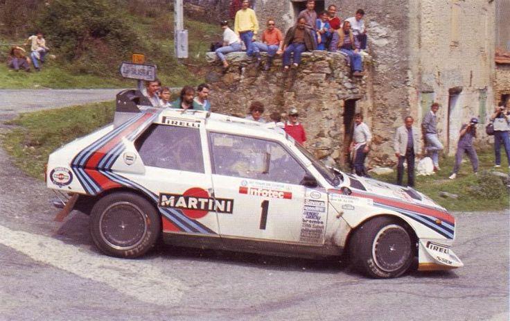 """Markku Alen (Lancia Delta S4), antes de retirarse por el fatal accidente a su compañero Henry Toivonen.                                                            """"El salario del miedo""""                Rally de Córcega 1986."""