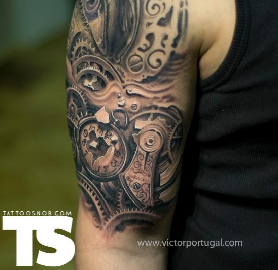 Clockwork tattoo by Victor Portugal: Tattoo Ideas, Artists, Gears Tattoo, Victor Portugal, Heart Tattoo, Body Art, Steampunk Tattoo, Clocks, Ink