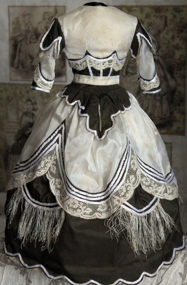 "Antique Vintage Brocade Taffeta French Fashion Doll Dress 16 18"" | eBay"
