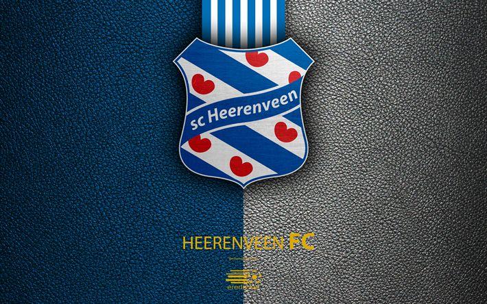 Download wallpapers SC Heerenveen FC, 4K, Dutch football club, leather texture, logo, emblem, Eredivisie, Heerenveen, Netherlands, football, Dutch Football Championship