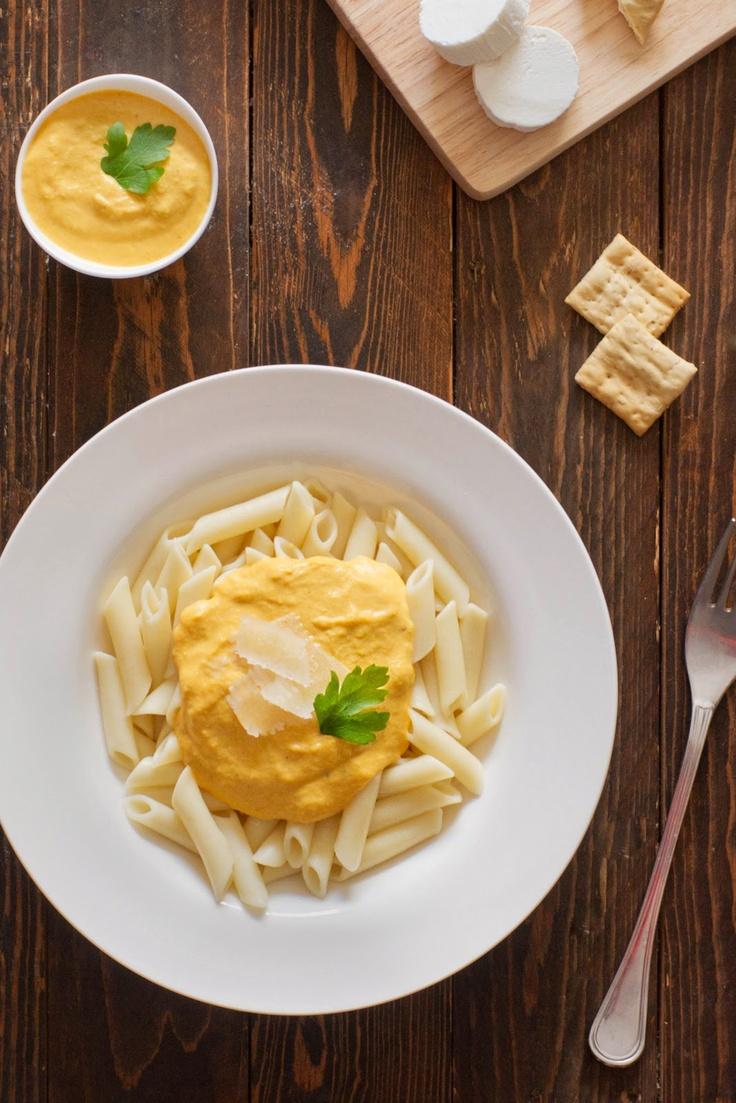 Pasta con salsa de calabaza y queso