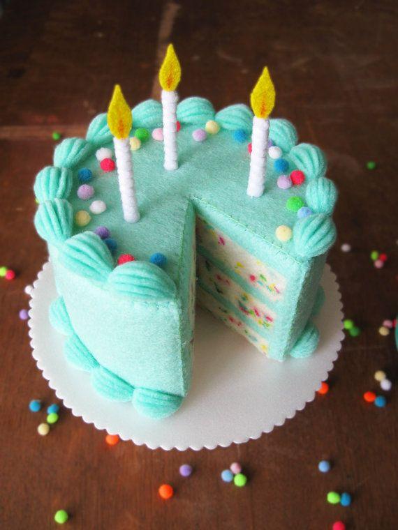 NEW Felt Food Funfetti Birthday Cake by milkfly on Etsy