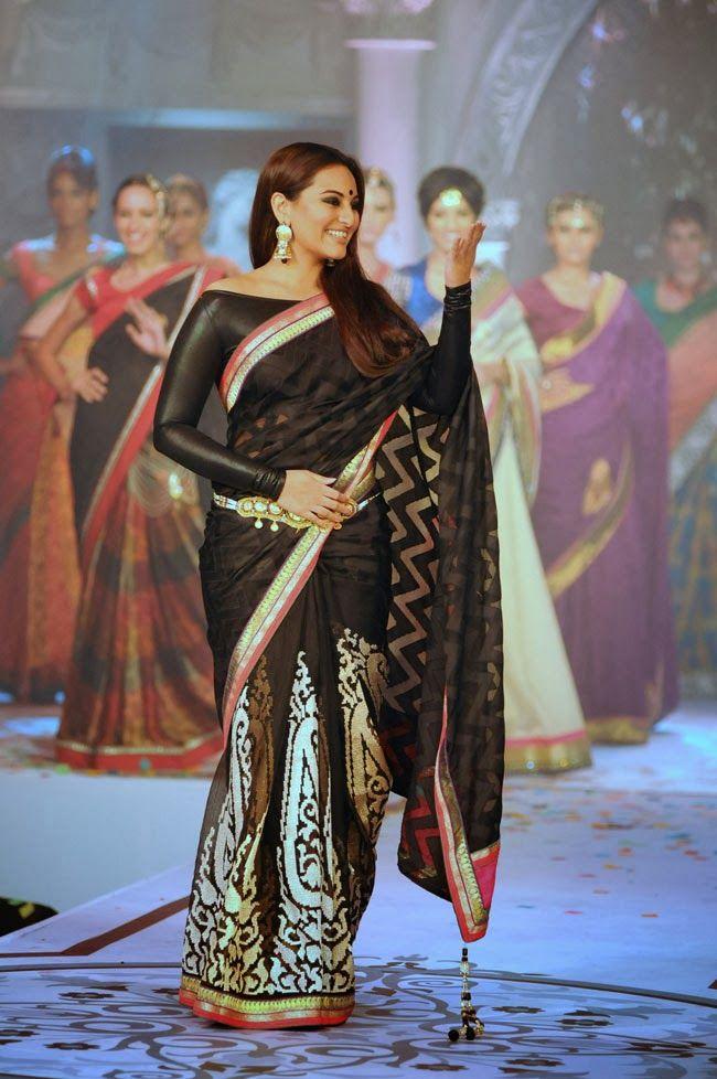 Sonakshi Sinha Latest Cute Black Saree Photos Gallery - Tollywood Stars