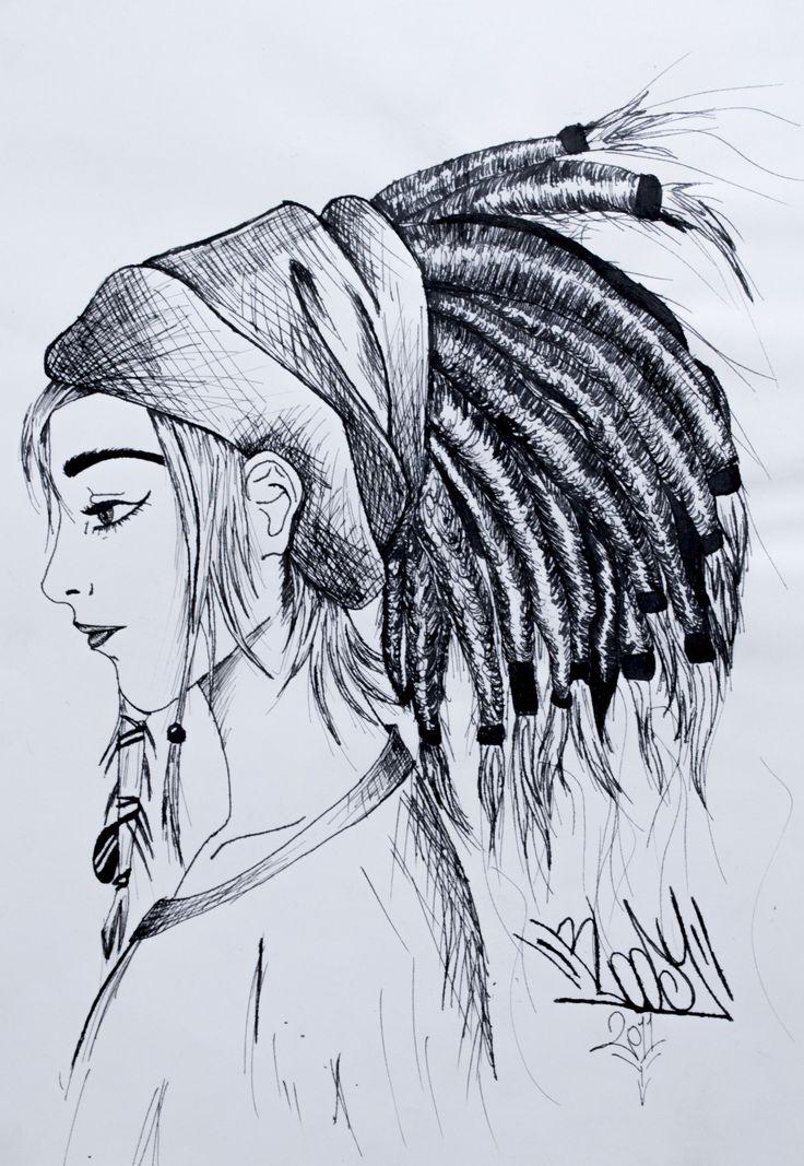Rasta Girl. Ilustración hecha con tintas chinas sobre papel bond. 25x35cm
