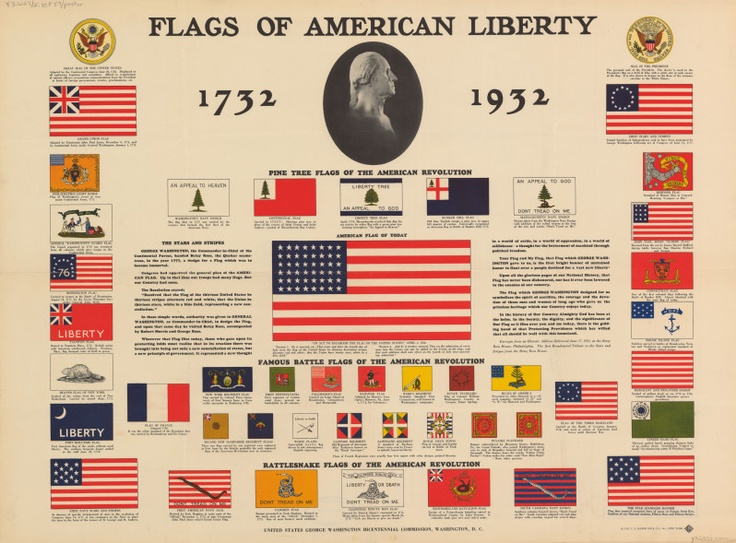 Flags of american liberty 1732 1932 poster 1931 u s for History of american flags