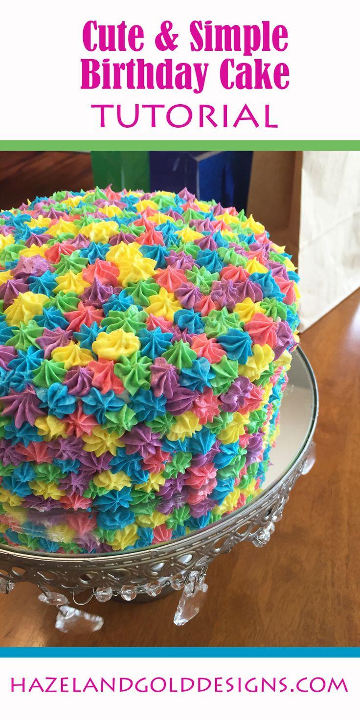 simple rainbow birthday cake, colorful cake, birthday fun, girls birthday cake, easy cake decorating