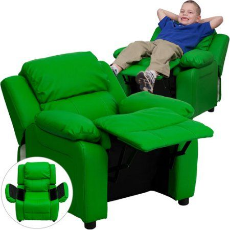 Flash Furniture Kids' Vinyl Recliner with Storage Arms, Multiple Colors, Green