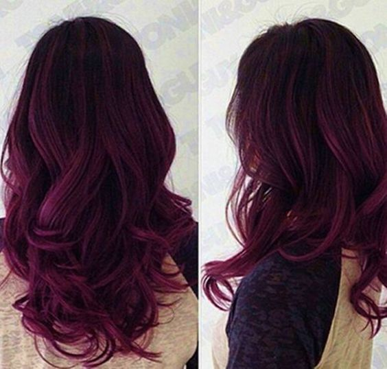 Red Purple Ombre Hair Color Idea For Dark Hair Hairstyle Ideas