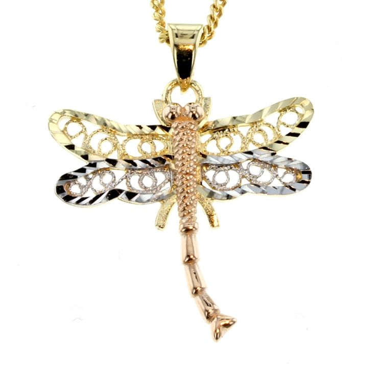 Buy Tri-Tone Gold Dragon Fly Pendant (PND-008) online at Chain Me Up