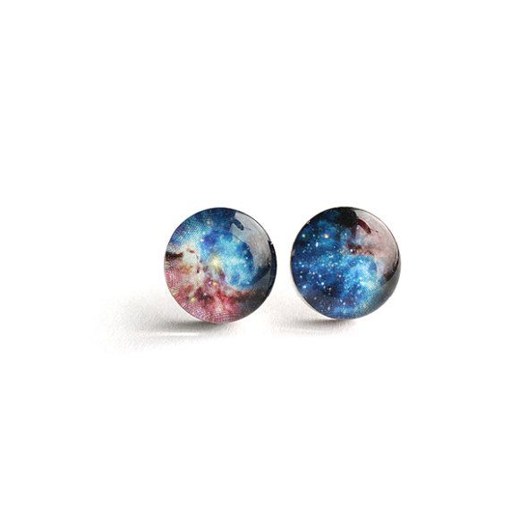 Universe stud Surgical steel post Stardust earring by myBeltBuckle, $16.00