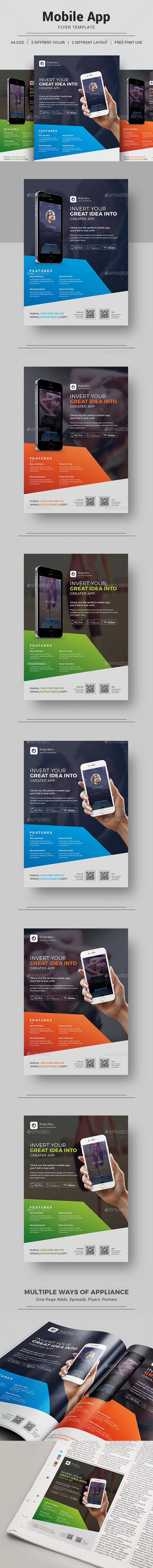 App Promotion Flyer Template PSD. Download here: https://graphicriver.net/item/app-promotion-flyer/17408425?ref=ksioks