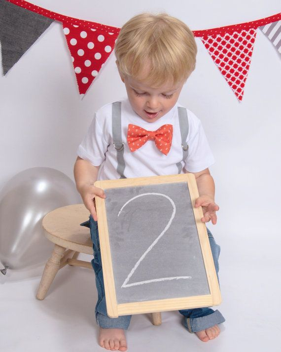 Boy 2nd Birthday Shirt, boys second birthday outfit, toddler 2nd birthday tie and suspenders, bow tie or necktie, red and gray