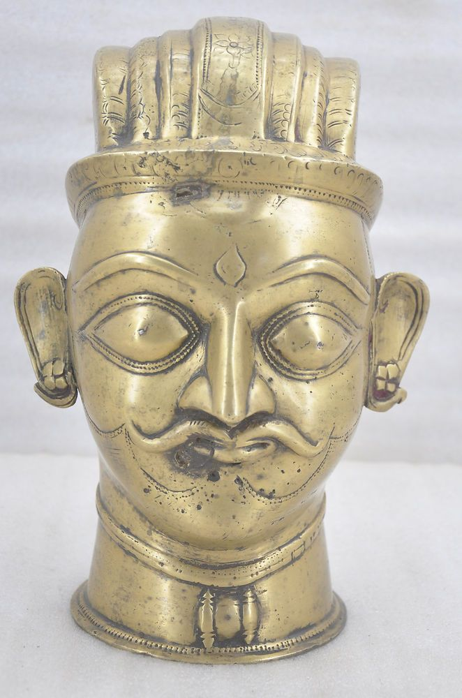 1750s Museum Quality Antique Fine Rare Engraved Brass God Shiva Head Bust Idol