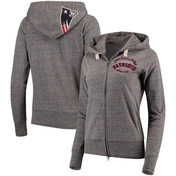 New England Patriots Touch by Alyssa Milano Women's Maverick Full-Zip Tri-Blend Hoodie - Gray