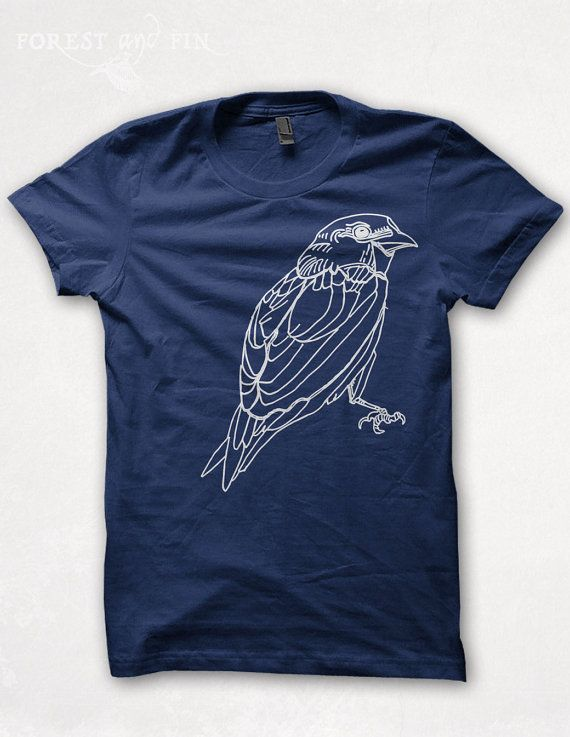This tshirt features a sparrow screenprinted in white on a fitted crew-neck tee. PRINT: Each design is hand-drawn and hand-printed in small