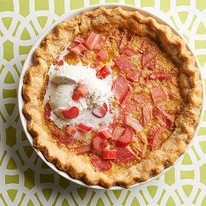 Chess pie, a classic Southern custard dessert, only gets sweeter with the addition of sliced fresh rhubarb. Don't forget to add a healthy scoop of ice cream or whipped cream on top!