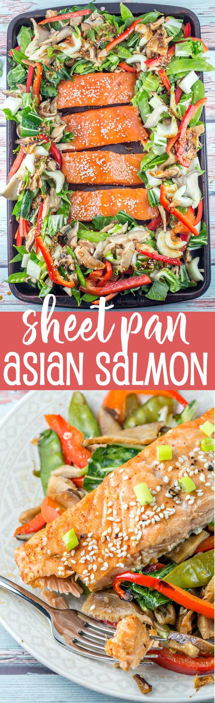 Sheet Pan Asian Salmon: Prep in the morning and bake in the evening.  One pan and 12 minutes is all you need for a delicious, healthy, vegetable heavy dinner. {Bunsen Burner Bakery} via @bnsnbrnrbakery