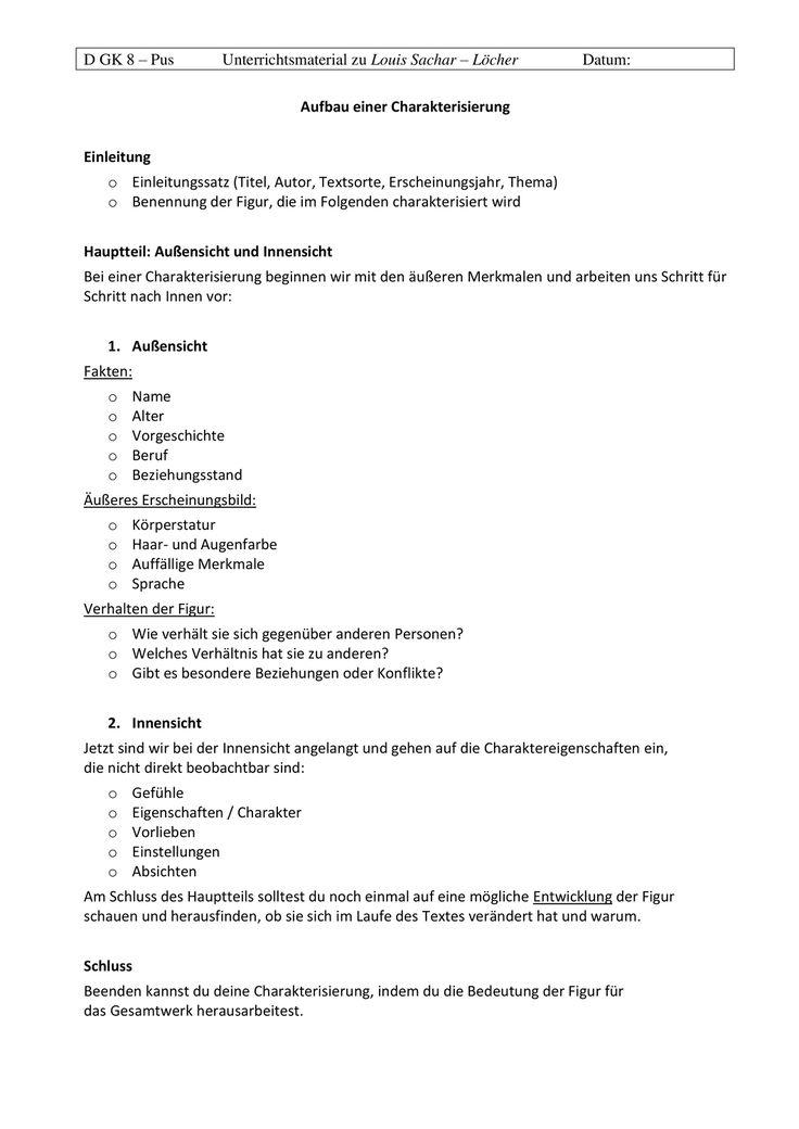 Leitfaden Charakterisierung Unterrichtsmaterial Im Fach Deutsch In 2020 Lernen Tipps Schule Deutsch Schreiben Lernen Unterricht Lesen