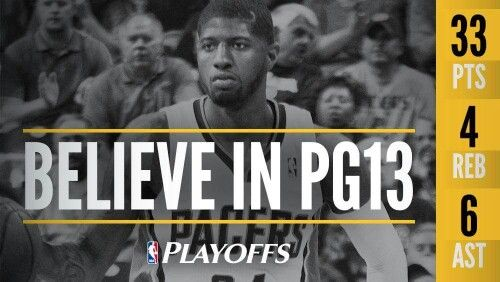 Paul George stats in a 2016 game one first round playoff road game win over the Raptors in Toronto.